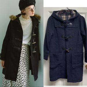 Japanese Wool Peacoat With Horn Buttons in Navy